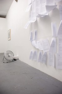 installation with fan and printed emails